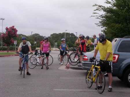 Riders mill around before the start of one of our club rides.