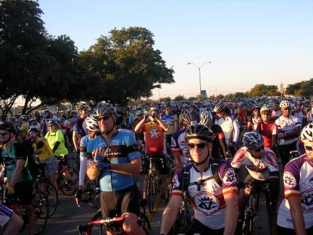 Waiting for the start of an organized ride early in the morning.