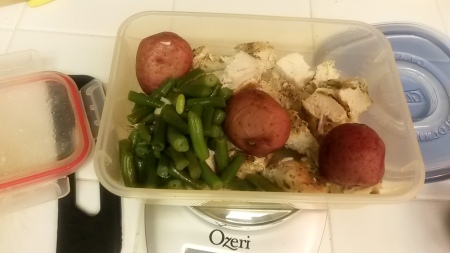 This was my Thursday dinner: chicken, green beans and red potatoes